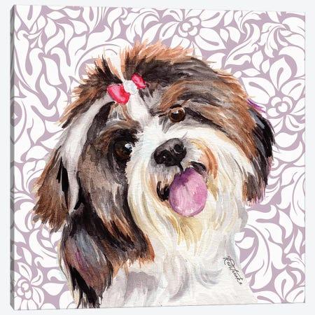 Shih Tzu With Bow Canvas Print #JRE132} by Jennifer Redstreake Canvas Art Print
