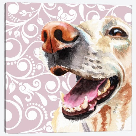 Yellow Lab Canvas Print #JRE135} by Jennifer Redstreake Canvas Art