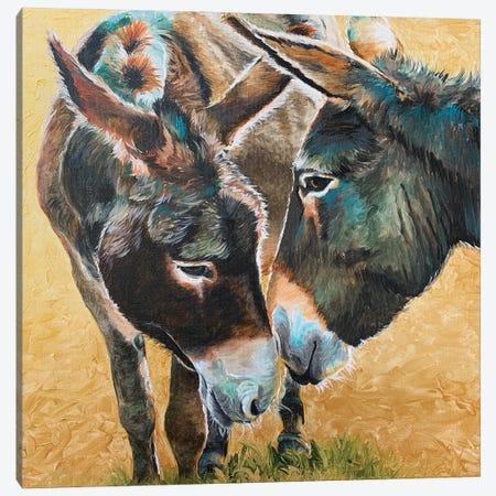 Donkey Friends Canvas Print #JRE137} by Jennifer Redstreake Canvas Art