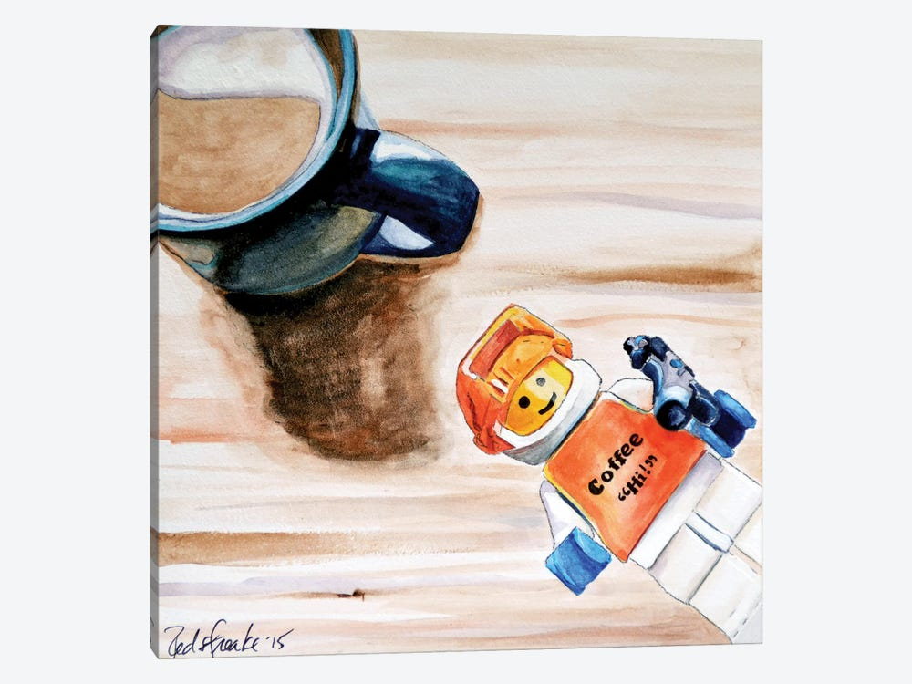 Coffee Hi by Jennifer Redstreake 1-piece Canvas Print