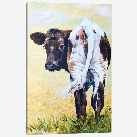 Calf On Gold Canvas Print #JRE141} by Jennifer Redstreake Canvas Wall Art