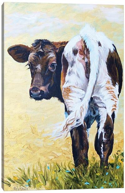 Calf On Gold Canvas Art Print