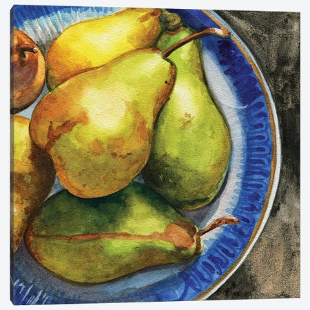 Parisian Pears Canvas Print #JRE143} by Jennifer Redstreake Canvas Wall Art