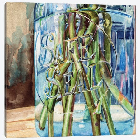 Safe Seal Jar With Stems Canvas Print #JRE145} by Jennifer Redstreake Canvas Art Print
