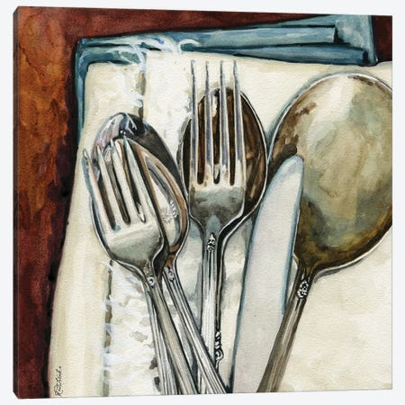 Vintage Silver Canvas Print #JRE147} by Jennifer Redstreake Art Print