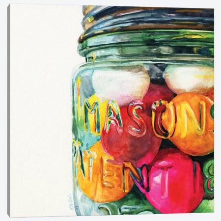 Jar Of Gumballs Canvas Print #JRE148} by Jennifer Redstreake Canvas Art