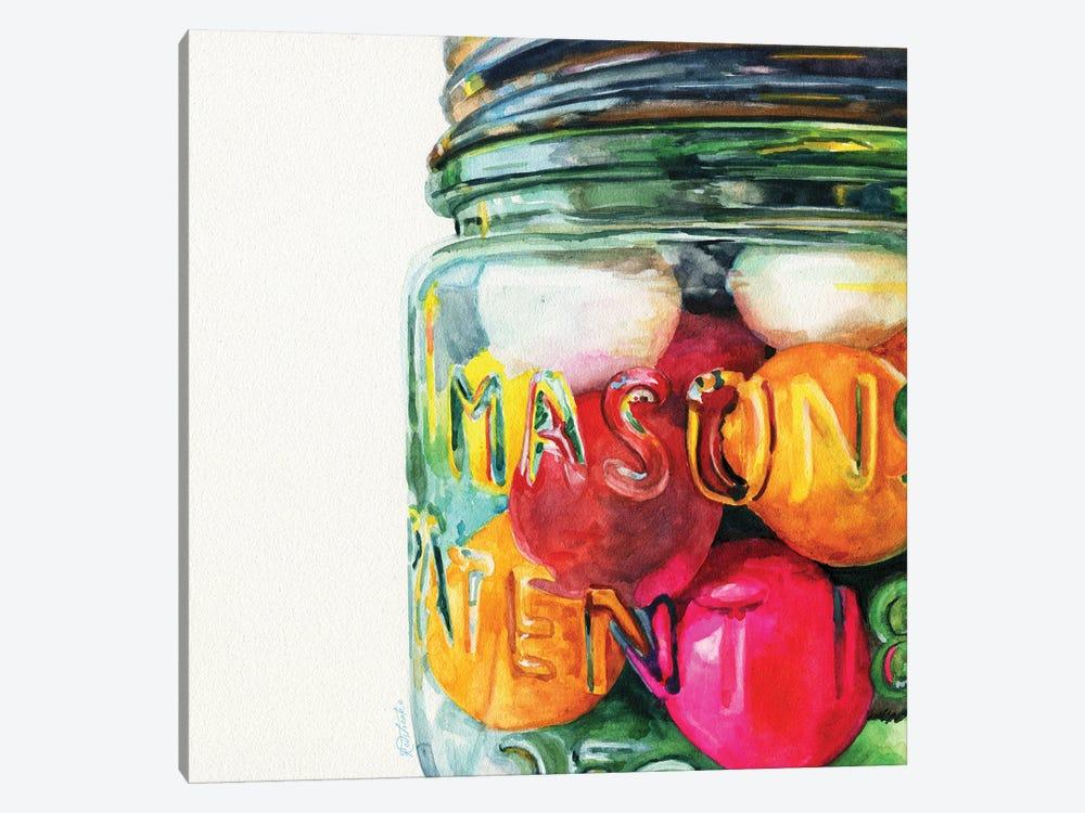 Jar Of Gumballs by Jennifer Redstreake 1-piece Canvas Wall Art