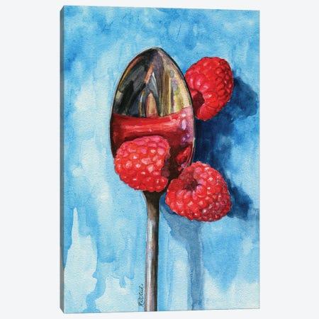 Spoon With Raspberries Canvas Print #JRE151} by Jennifer Redstreake Art Print