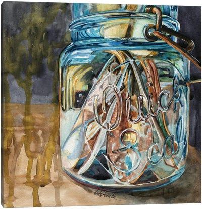 Jar With Antique Spoons Canvas Art Print