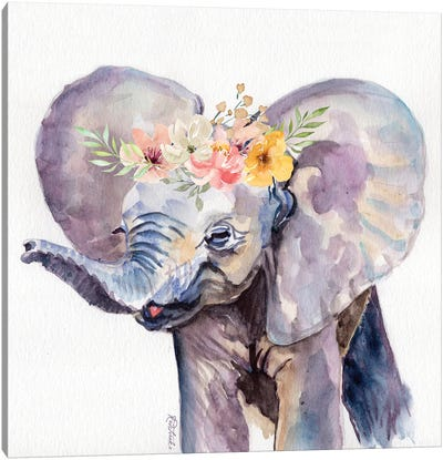 Elephant With Flowers Canvas Art Print