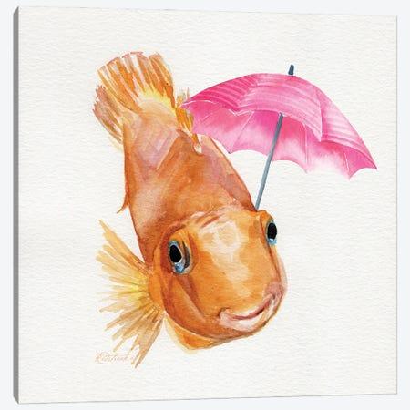 Fish With Umbrella Canvas Print #JRE161} by Jennifer Redstreake Canvas Art