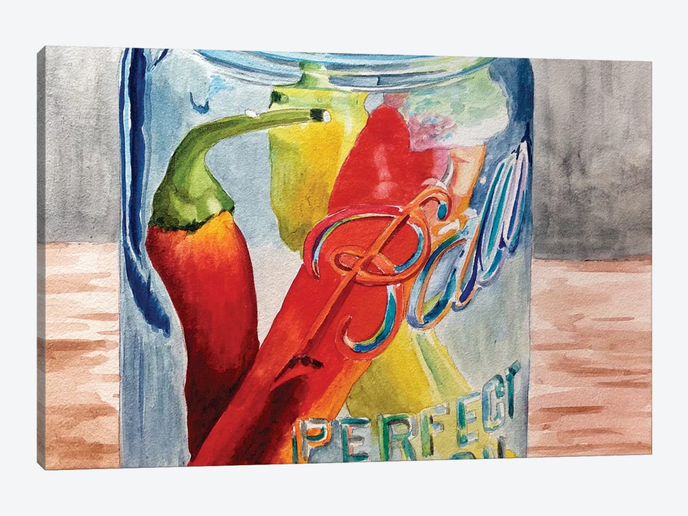 Having A Ball With Chilis II by Jennifer Redstreake 1-piece Canvas Art