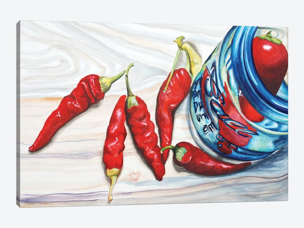 Red Chili Sand Turquoise by Jennifer Redstreake 1-piece Canvas Artwork