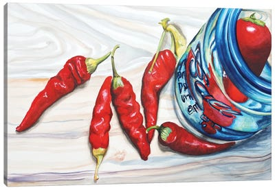 Red Chili Sand Turquoise Canvas Art Print