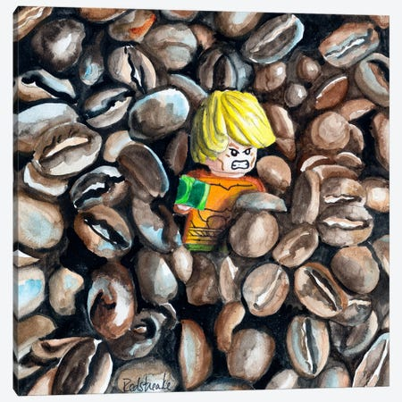 The Great Coffee Bean Escape Canvas Print #JRE32} by Jennifer Redstreake Canvas Art