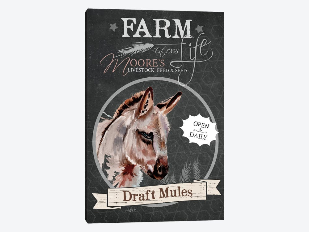 Chalkboard Series: Draft Mules by Jennifer Redstreake 1-piece Canvas Wall Art
