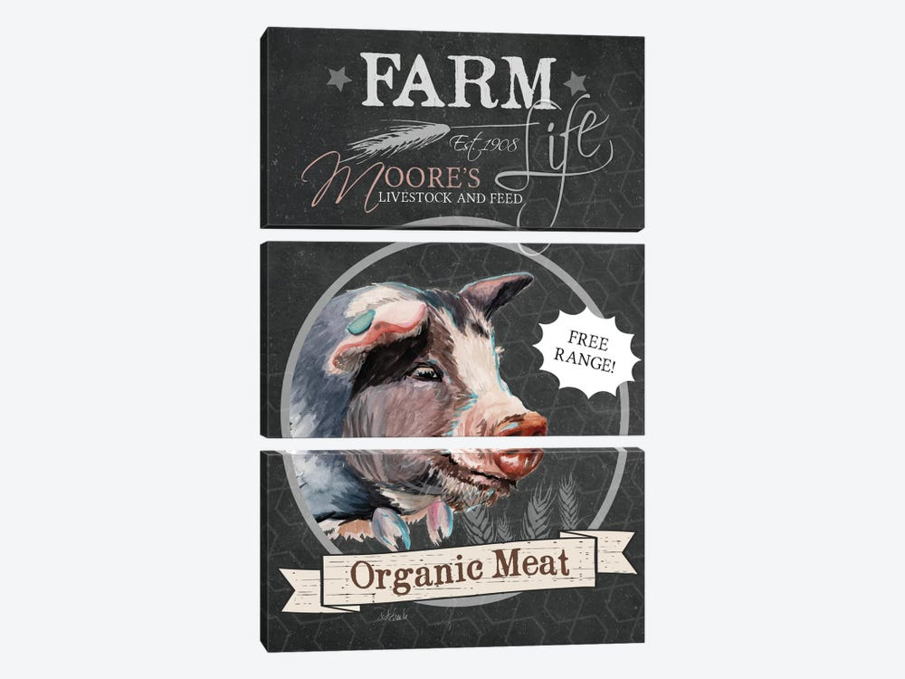Chalkboard Series: Organic Meat by Jennifer Redstreake 3-piece Art Print
