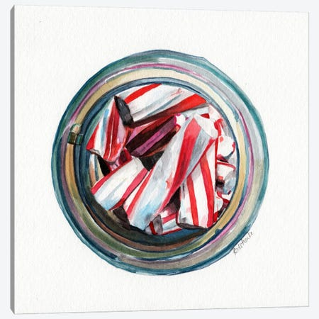 Ball Jar Candy Cane Sticks Canvas Print #JRE63} by Jennifer Redstreake Canvas Art Print