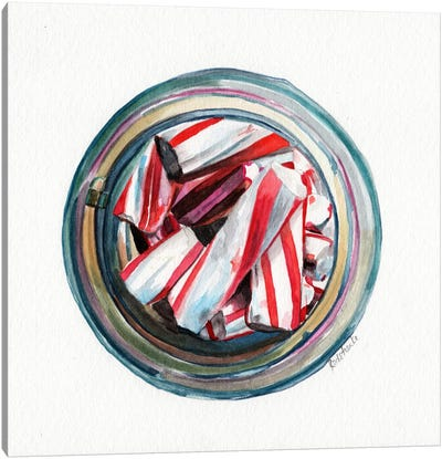 Ball Jar Candy Cane Sticks Canvas Art Print