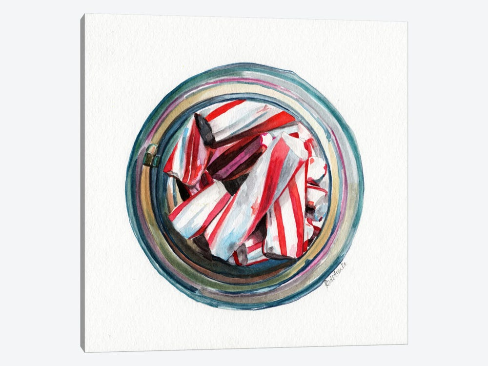 Ball Jar Candy Cane Sticks by Jennifer Redstreake 1-piece Canvas Artwork