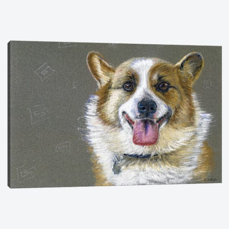 Corgie Canvas Print #JRE69} by Jennifer Redstreake Canvas Art Print