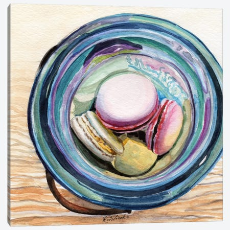 Macaron Ball Jar Canvas Print #JRE79} by Jennifer Redstreake Canvas Artwork