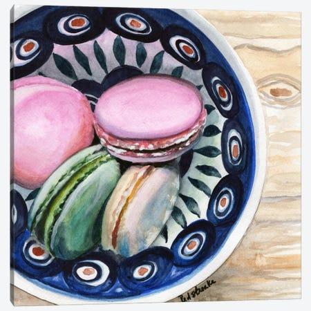 Macarons In A Bowl 3-Piece Canvas #JRE80} by Jennifer Redstreake Canvas Art Print