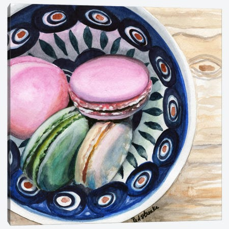 Macarons In A Bowl Canvas Print #JRE80} by Jennifer Redstreake Canvas Art Print