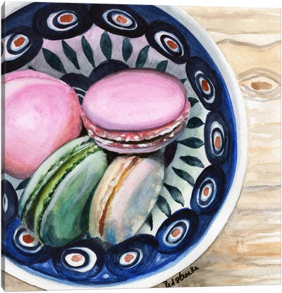 Macarons In A Bowl Canvas Art Print