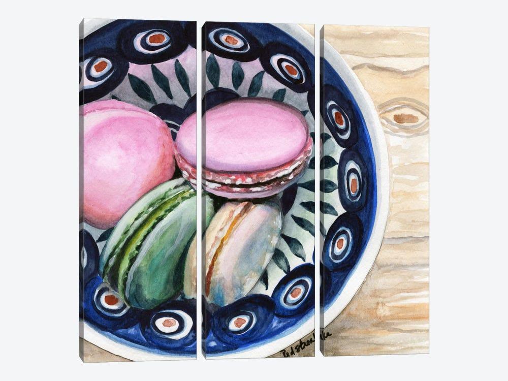 Macarons In A Bowl by Jennifer Redstreake 3-piece Canvas Print