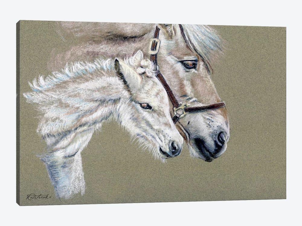 Norwegian Fjord Mare With Foal by Jennifer Redstreake 1-piece Canvas Art