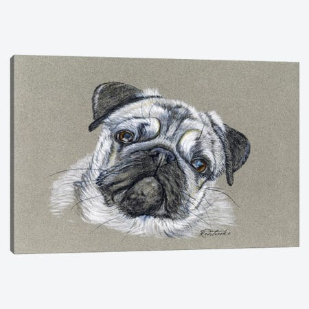 Pug Canvas Print #JRE84} by Jennifer Redstreake Canvas Artwork