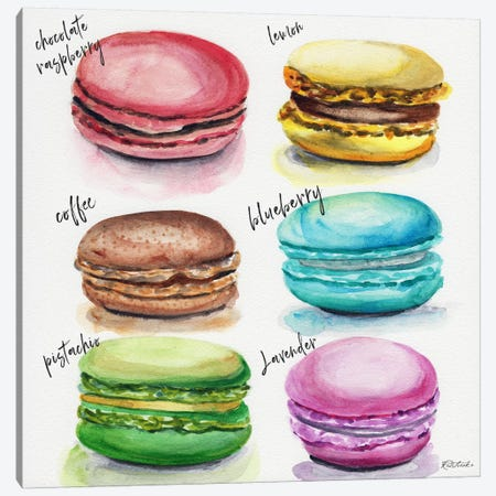 Six Macaron Flavors 3-Piece Canvas #JRE86} by Jennifer Redstreake Canvas Art