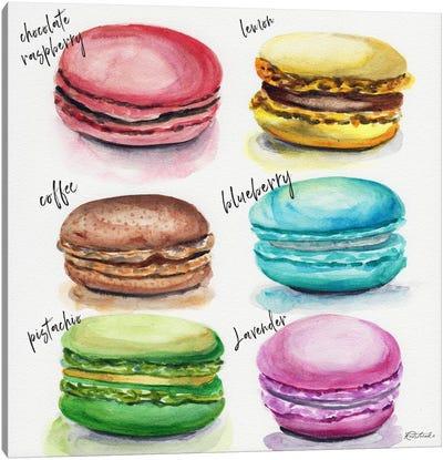 Six Macaron Flavors Canvas Art Print