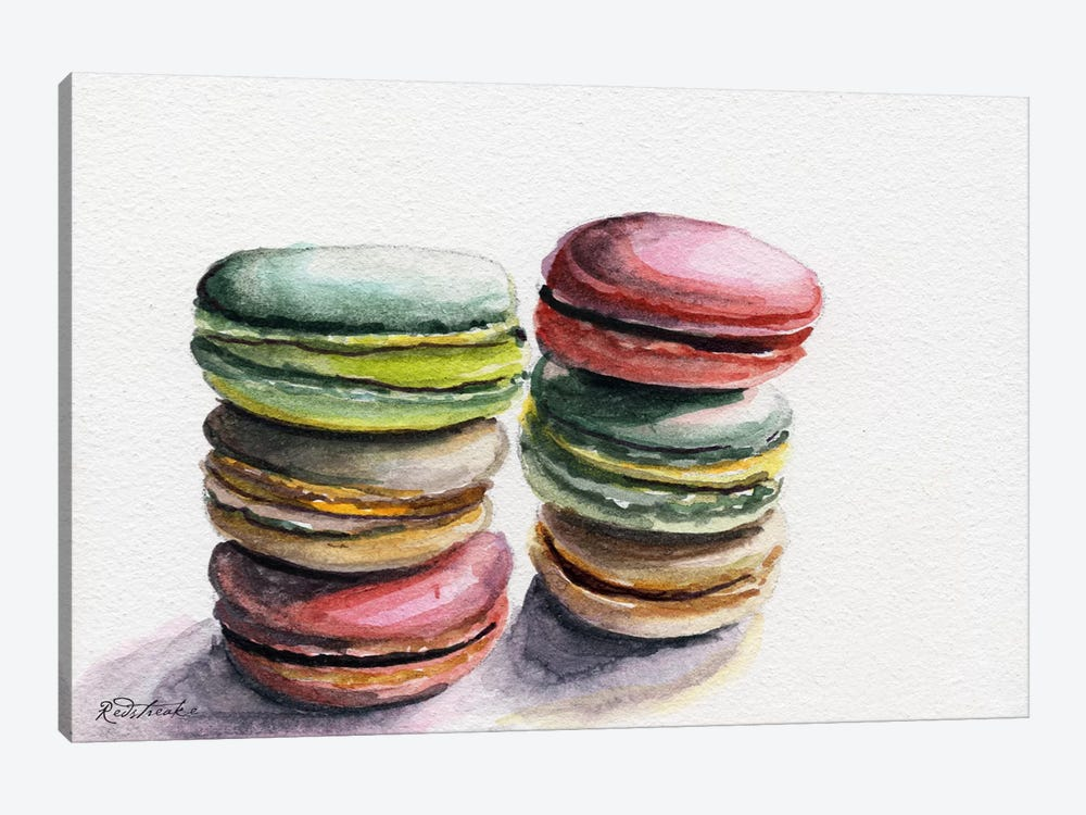 Six Macarons Stacked by Jennifer Redstreake 1-piece Canvas Art