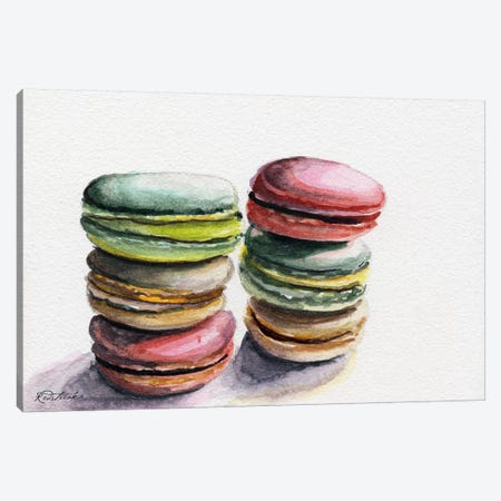Six Macarons Stacked 3-Piece Canvas #JRE87} by Jennifer Redstreake Canvas Wall Art