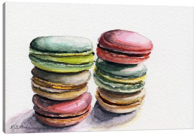 Six Macarons Stacked Canvas Art Print