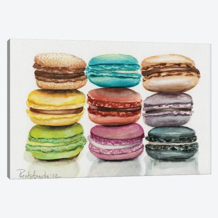 9 Macarons Canvas Print #JRE8} by Jennifer Redstreake Canvas Artwork