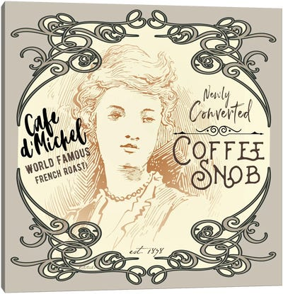 Vintage Collage: Coffee Snob Canvas Art Print