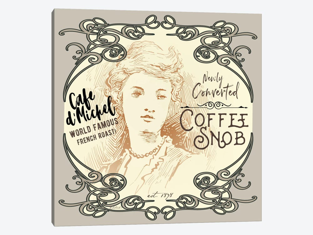 Vintage Collage: Coffee Snob by Jennifer Redstreake 1-piece Canvas Artwork