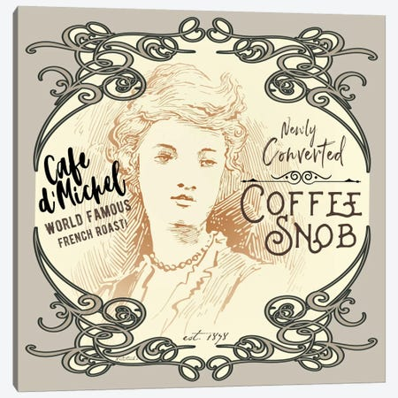 Vintage Collage: Coffee Snob Canvas Print #JRE90} by Jennifer Redstreake Canvas Art