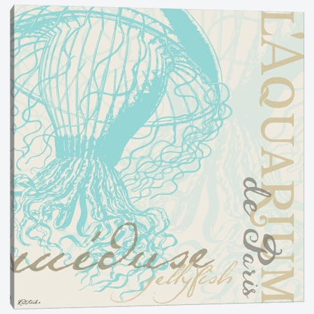 Vintage Collage: Jellyfish I Canvas Print #JRE93} by Jennifer Redstreake Canvas Art