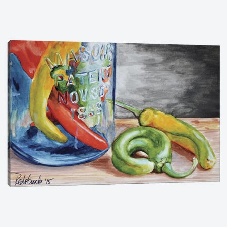 1858 Chili Peppers Canvas Print #JRE9} by Jennifer Redstreake Canvas Wall Art
