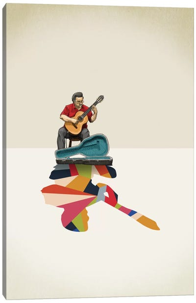 Walking Shadow Guitarist Canvas Art Print