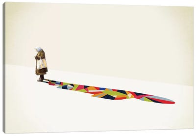 Walking Shadow Old Lady Canvas Art Print