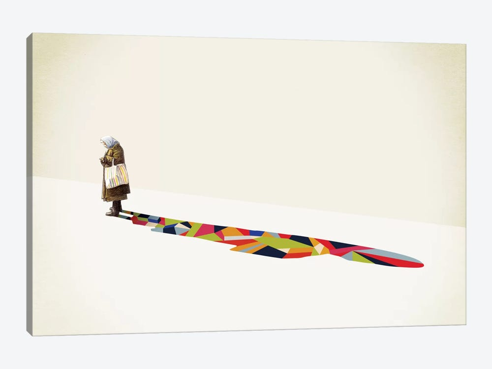 Walking Shadow Old Lady by Jason Ratliff 1-piece Canvas Wall Art