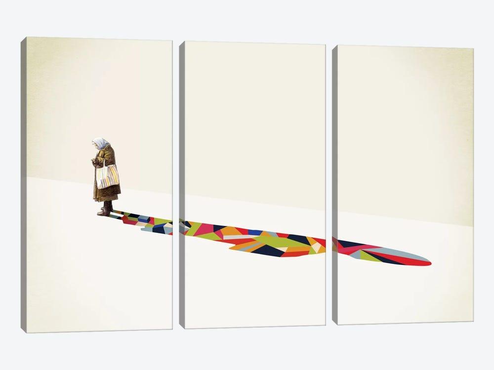Walking Shadow Old Lady by Jason Ratliff 3-piece Canvas Art