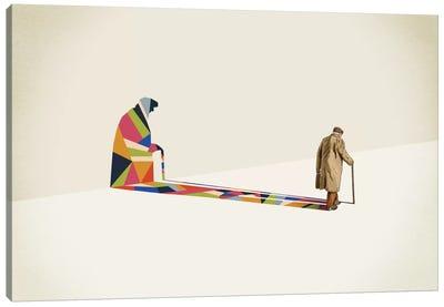 Walking Shadow Old Man Canvas Art Print