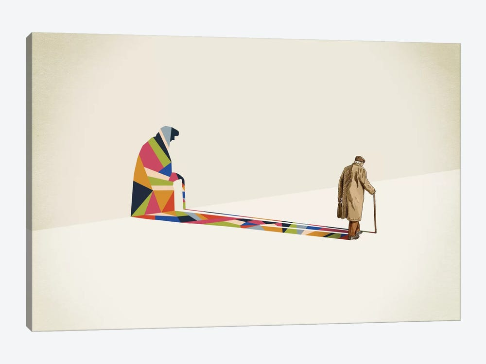 Walking Shadow Old Man by Jason Ratliff 1-piece Canvas Art Print