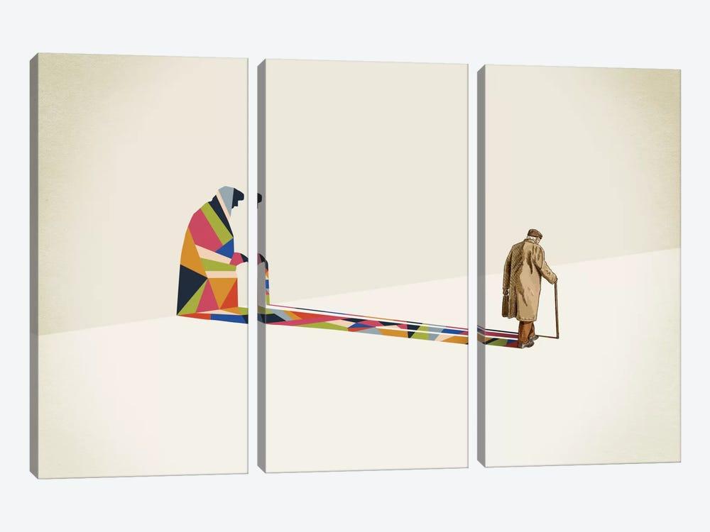 Walking Shadow Old Man by Jason Ratliff 3-piece Canvas Print
